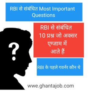 RBI से सम्बंधित 15 Most Important Questions