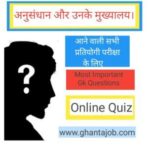 संस्थान एवं उनके मुख्यालय ( Online Quiz )