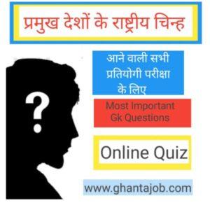 प्रमुख देशो के राष्ट्रीय चिह्न (National Symbols) से सम्बंधित महत्वपूर्ण Questions