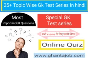 Topic Wise Gk Test Series in Hindi